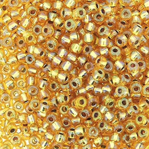 Miyuki Round Seed Bead Size 8/0 22g Silverlined Gold AB