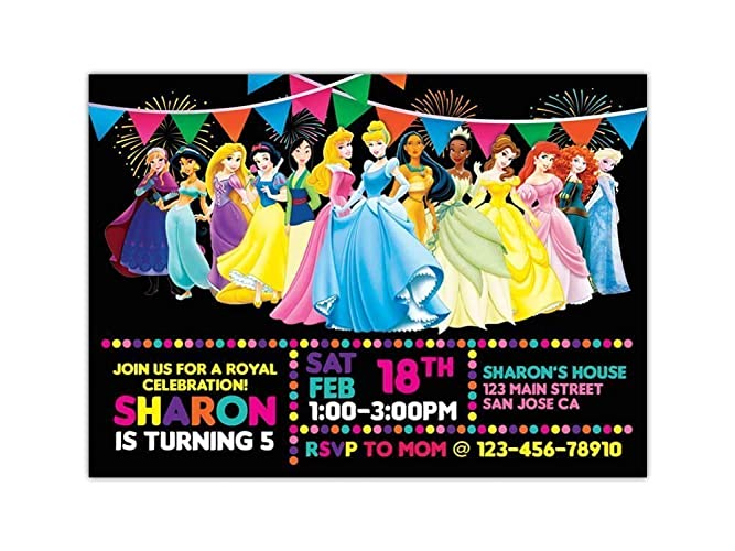 Custom Disney Princesses Birthday Party Invitations For Kids 10pc 60pc 4x6 Or 5x7 Cards With White Envelopes Printed On Premium 265gsm Card