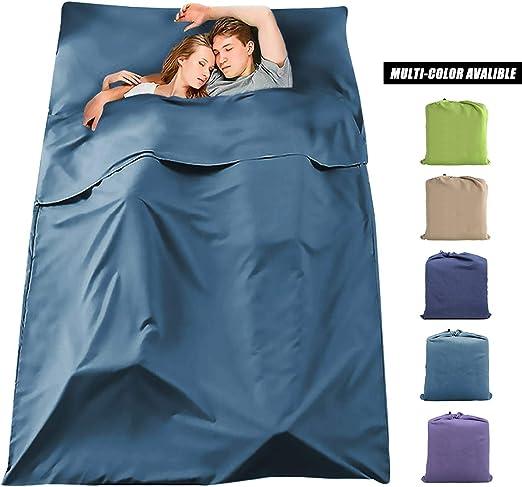 VeMee Sleeping Bag Liner Travel Sleeping Liner Lightweight Breathable Cotton Sleeping Camping Sheet Ultralight Compact Sleep Sheet Carry Bag for Picnic,Hiking