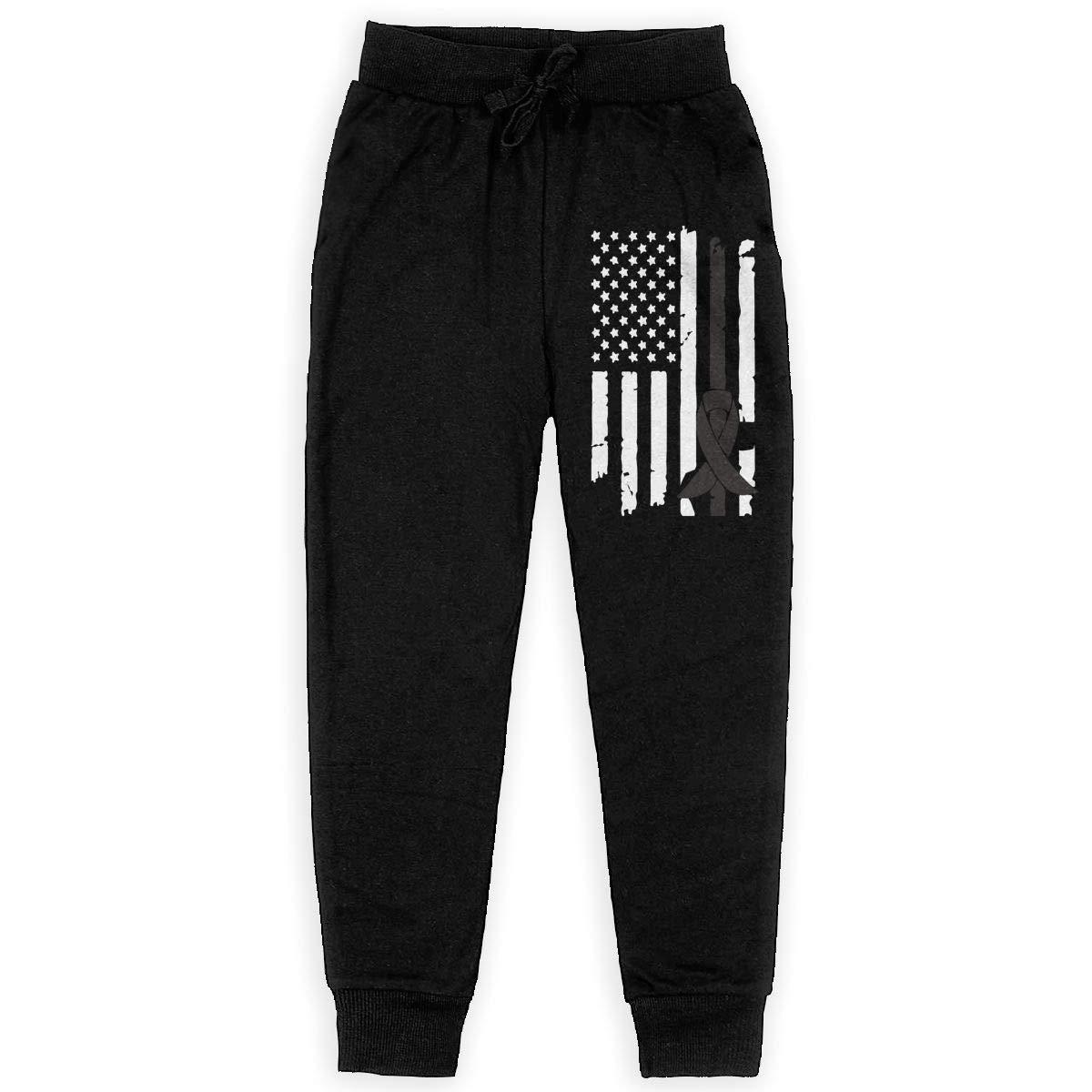 Boys Fleece Pants for Teenager Boys WYZVK22 Melanoma Awareness USA Flag-1 Soft//Cozy Sweatpants