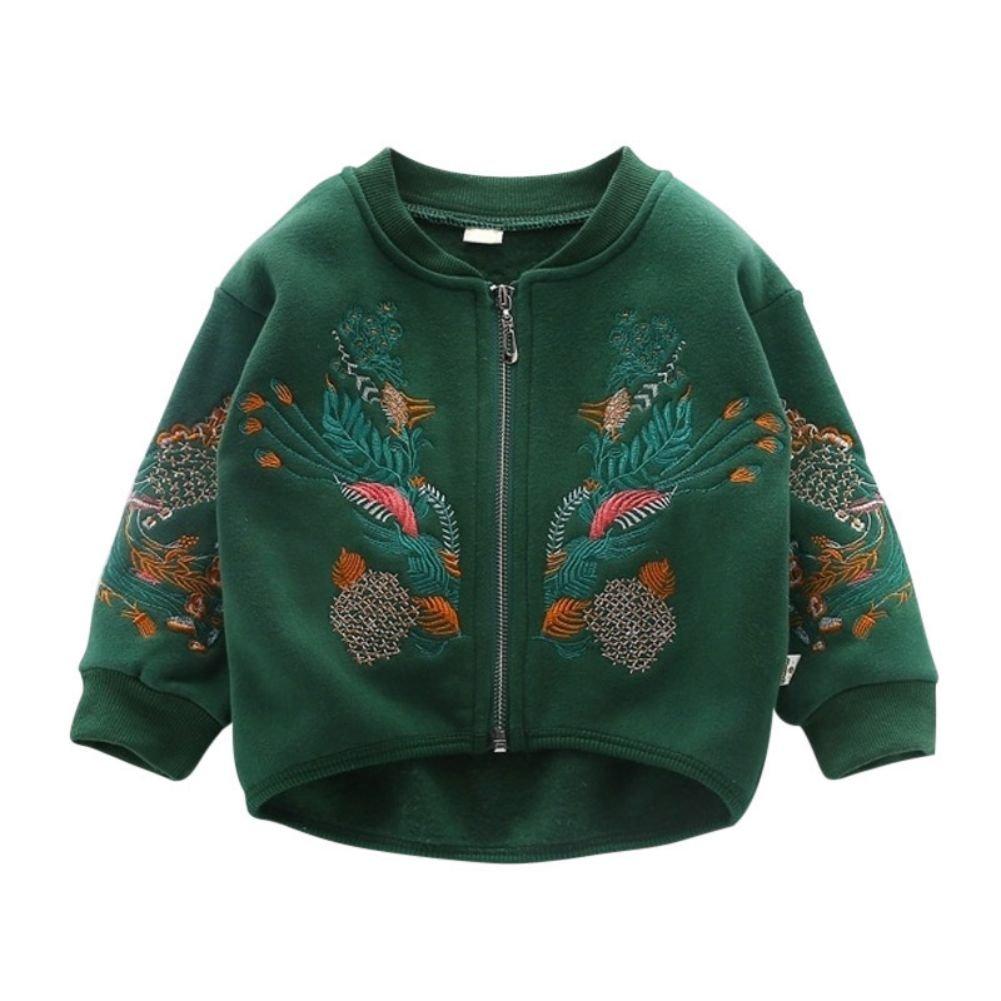 Soly Tech Little Girls Embroidery Jackets Spring Autumn Zipper Front Short Coats