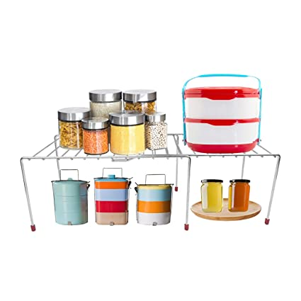Rollyware Stainless Steel Expandable Rack For Kitchen Storage Sturdy Save Saver Multipurpose With Chrome Finish Shelf Divider For Kitchen Storage Ideal As Shelf Organizers Kitchen Cabinet Rack Amazon In Home