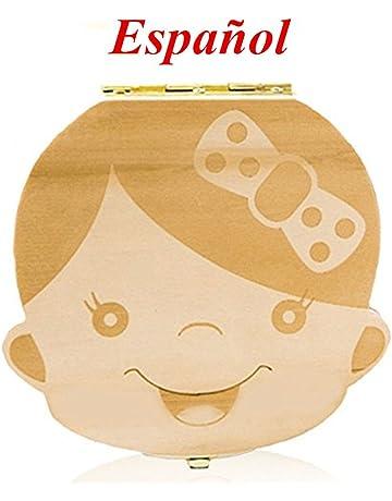 SANDIN 1 Pcs Madera de Caja Almacenamiento de Dientes Leches Caja de Reci/én Nacidos Recuerdo para Beb/és Regalos Espa?ol Tesoro masculino Ni?o