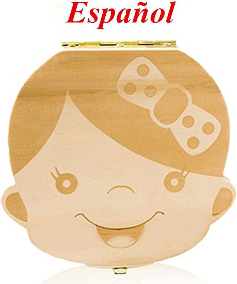 AIUIN 1X Madera de Caja Almacenamiento de Dientes Leches Caja de Recién Nacidos Recuerdo para Little Nephew Versión Regalos Español(Contiene pinzas pequeñas) (Niña)