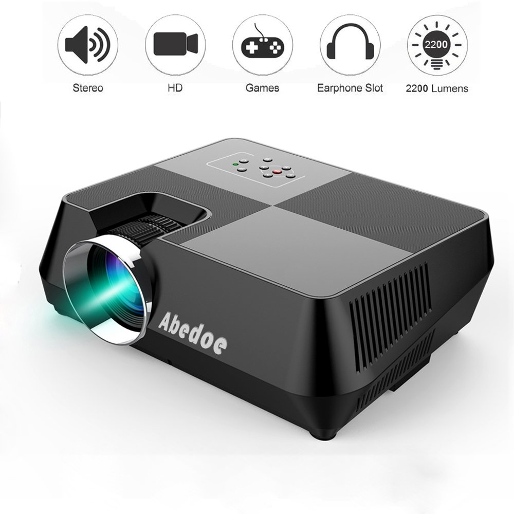LCD Mini Projector, Abedoe 2200 Lumens 4 Inch Full HD 1080P Multimedia Stereo Speaker Projection with HDMI/Micro SD/AV/VGA/USB Input and Remote Control,for Home Theater/Game/Xbox PC Laptop