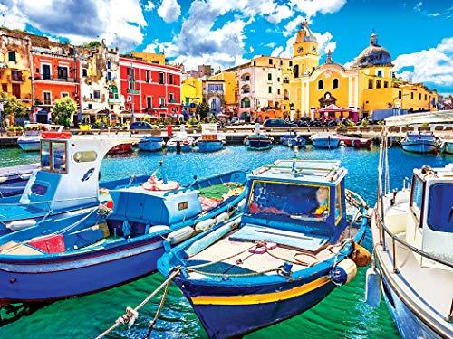 Kodak Premium Puzzles Colorful Procida Island and Boats, Italy, Coast of Naples, 550 pc Jigsaw Puzzle