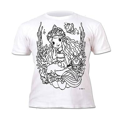 Kinder T Shirt Mädchen Meerjungfrau Zum Bemalen Und Ausmalen Mit