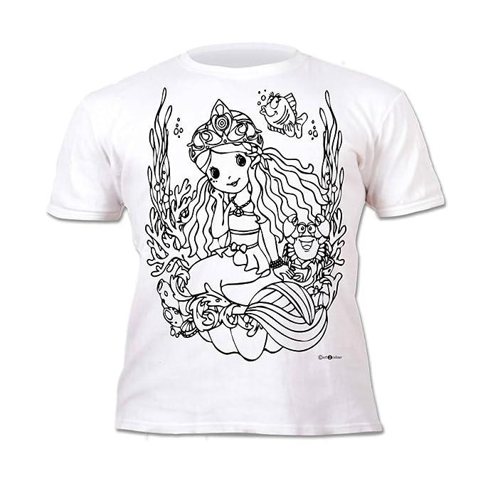 Splat Planet Camiseta SIRENA para niñas. Con impresión para pintar y ...