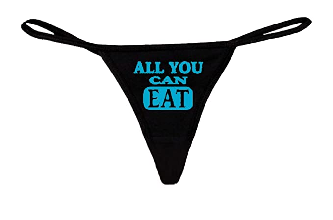 ffe6b3cd5c32 Sexy Funny Women's Made in USA Black Thong G-string: BLUE ALL YOU CAN