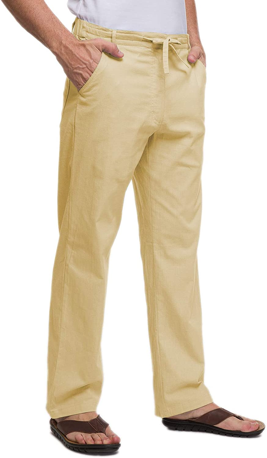 Janmid Men's 70% OFF Outlet Outstanding Linen Pants Casual Waist Elastic Yoga Be Drawstring
