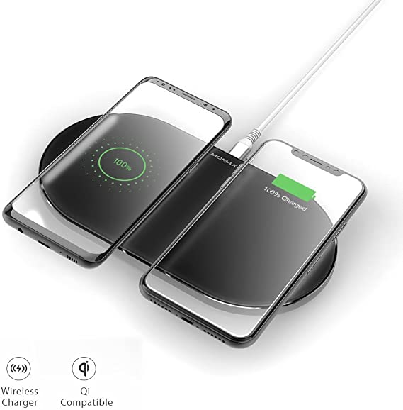 MOMAX Dual Wireless Charging Pad 20W Double Qi Fast Charger For iPhone X, iPhone 8 (Plus), Samsung Note 8 S8, S7, S6 And Other Qi Ready Phones