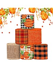 6 Rolls 30 Yards Fall Burlap Ribbon, 2.5″W Buffalo Plaid Wired Edge Ribbon with Pumpkin Pattern Thanksgiving Theme Craft Ribbon Rustic Autumn Harvest Ribbon for Wrapping Gifts Making Wreath Bow