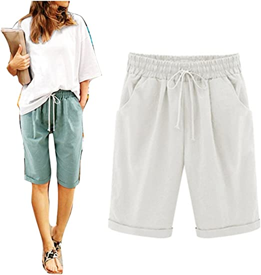 Yying Femme Short Loose Bermuda Casual Eté Confortable