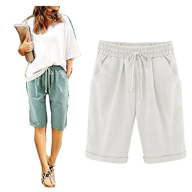 89c88dba39 Juqilu Femme Short Loose Bermuda Casual Eté Confortable Cordon de Serrage Elastique  Taille Haute Short Yoga