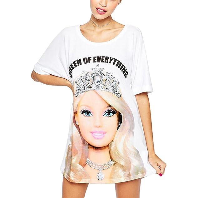 FV RELAY Womens Cute Barbie Printed Tunic Top Crew Neck T Shirt Dress ...
