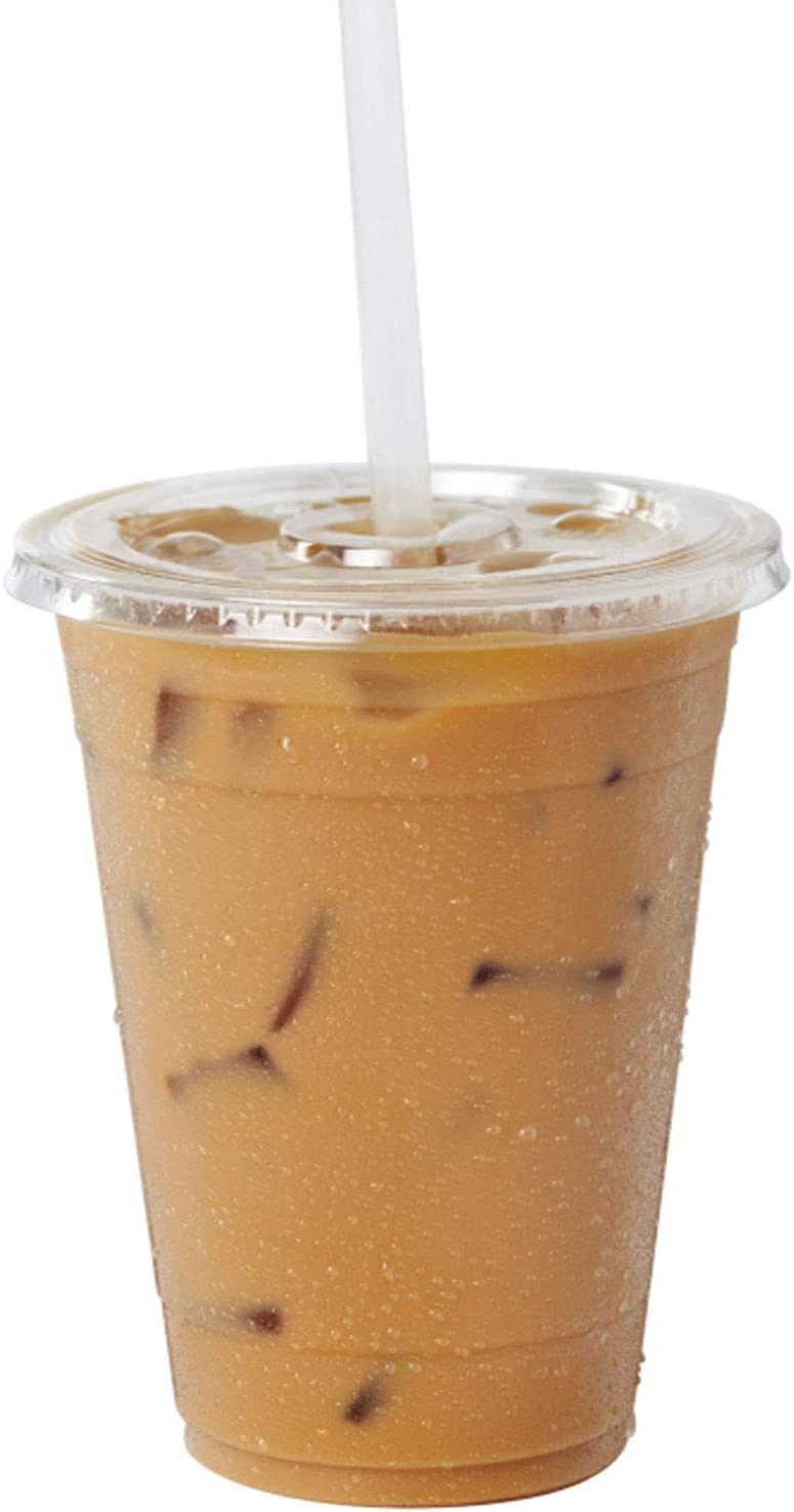 [100 Pack] 16 oz BPA Free Clear Plastic Cups With Flat Slotted Lids for Iced Cold Drinks Coffee Tea Smoothie Bubble Boba, Disposable, Medium Size
