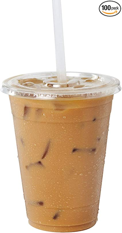 16 oz Clear Plastic Cups With Flat Slotted Lids for Iced Cold Drinks Coffee Tea Smoothie Bubble Boba 100 Pack Disposable Medium Size