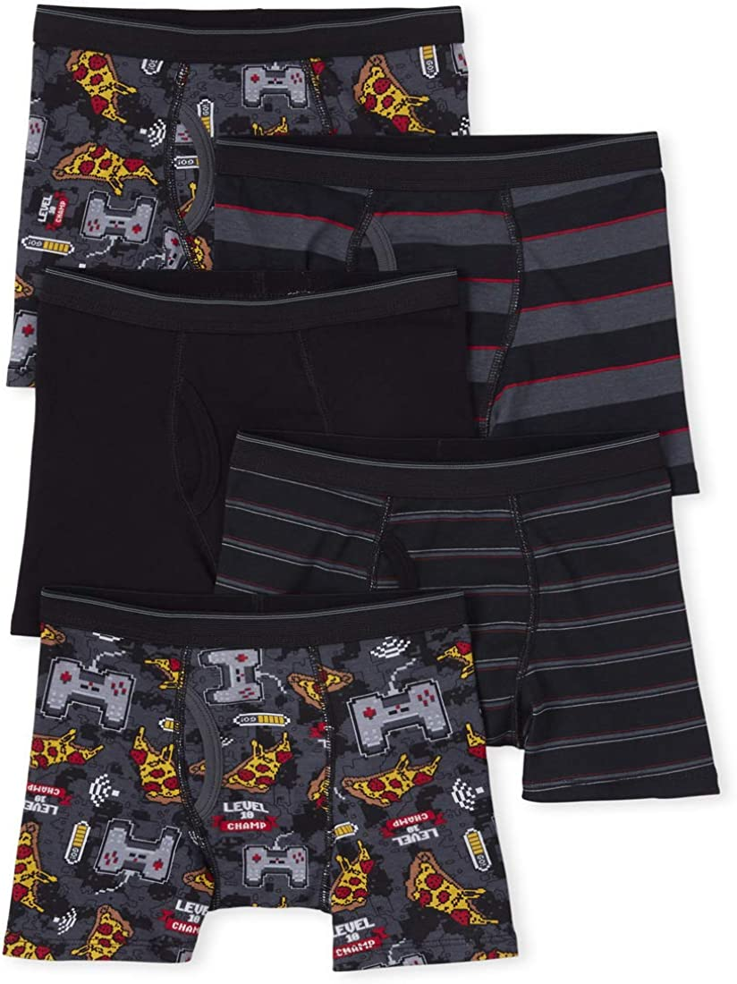 The Children's Place Boys' Food Print Boxers, Pack of Five