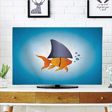 Funda para televisor LCD, diseño de tiburón, pez Martillo con Efectos étnicos Ornamentales, Imagen de océano, Azul Oscuro y Blanco Gasolina, diseño de impresión 3D Compatible con TV de 32 Pulgadas: Amazon.es: