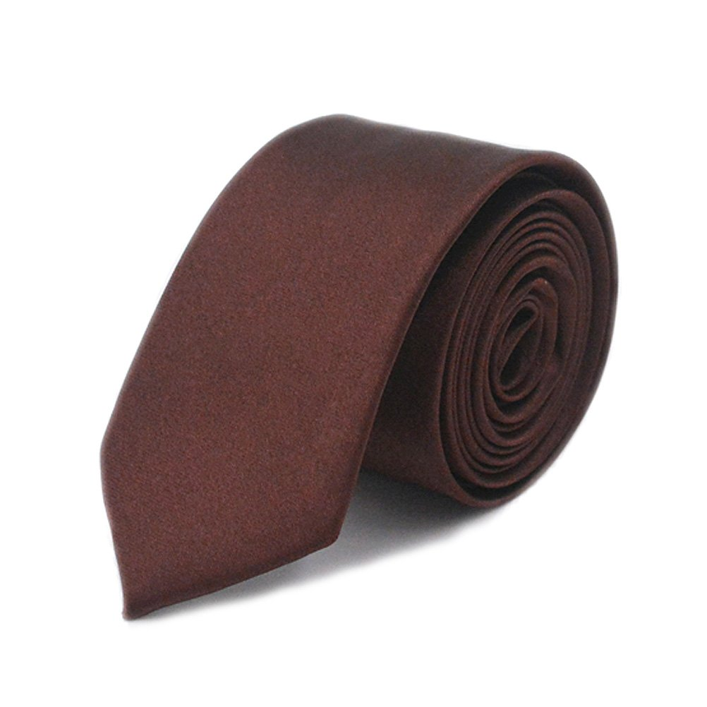 IvyFlair Men's Classic Solid Color Silk Feel 2 Skinny Fashion Necktie Tie Brown LDG821BRO