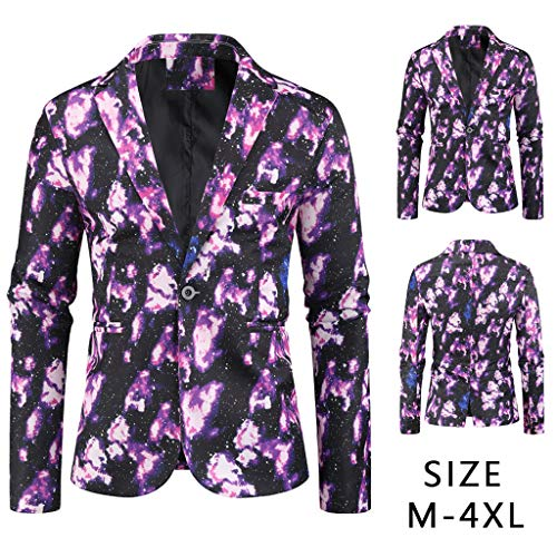 Men Blazer Slim Fit SFE Autumn Winter Notched Lapel One Button Printed Trench Coat Jacket Tuxedo Dress with Pockets