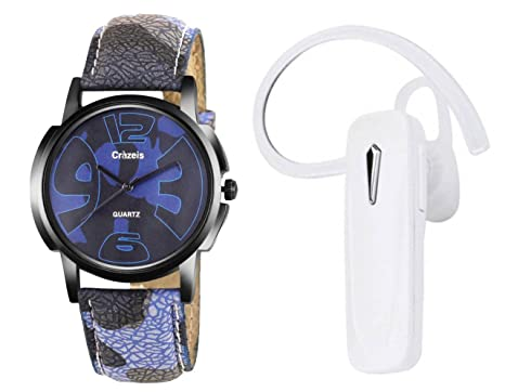 4c027fbf7a7 Crazeis Combo Of Watch & White Bluetooth Headset With Mic (Relsih Md-1-