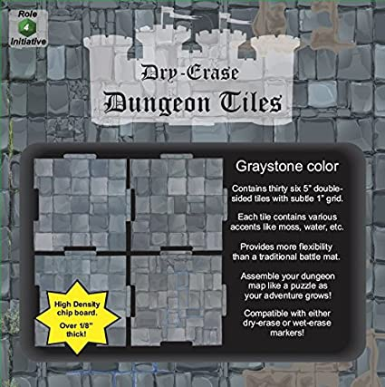Dry Erase Dungeon Tiles, Graystone, Pack of Thirty-Six 5