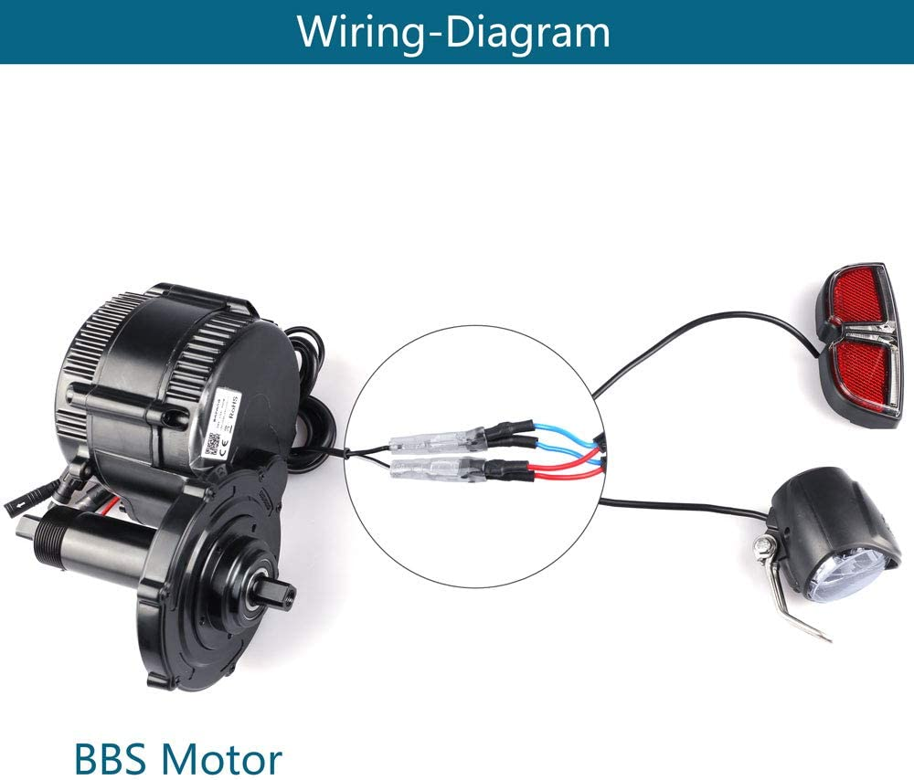 Compatible with BAFANG BBS01 BBS02 BBSHD Mid Drive Motor Conversion Kit Lascycle 6V Headlight /& Taillight for Ebike
