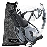 Phantom Aquatics Adult Mask Fin Snorkel Set with Mesh Bag, Silver, Large/X-Large/Size 9 to 13 (Sports)