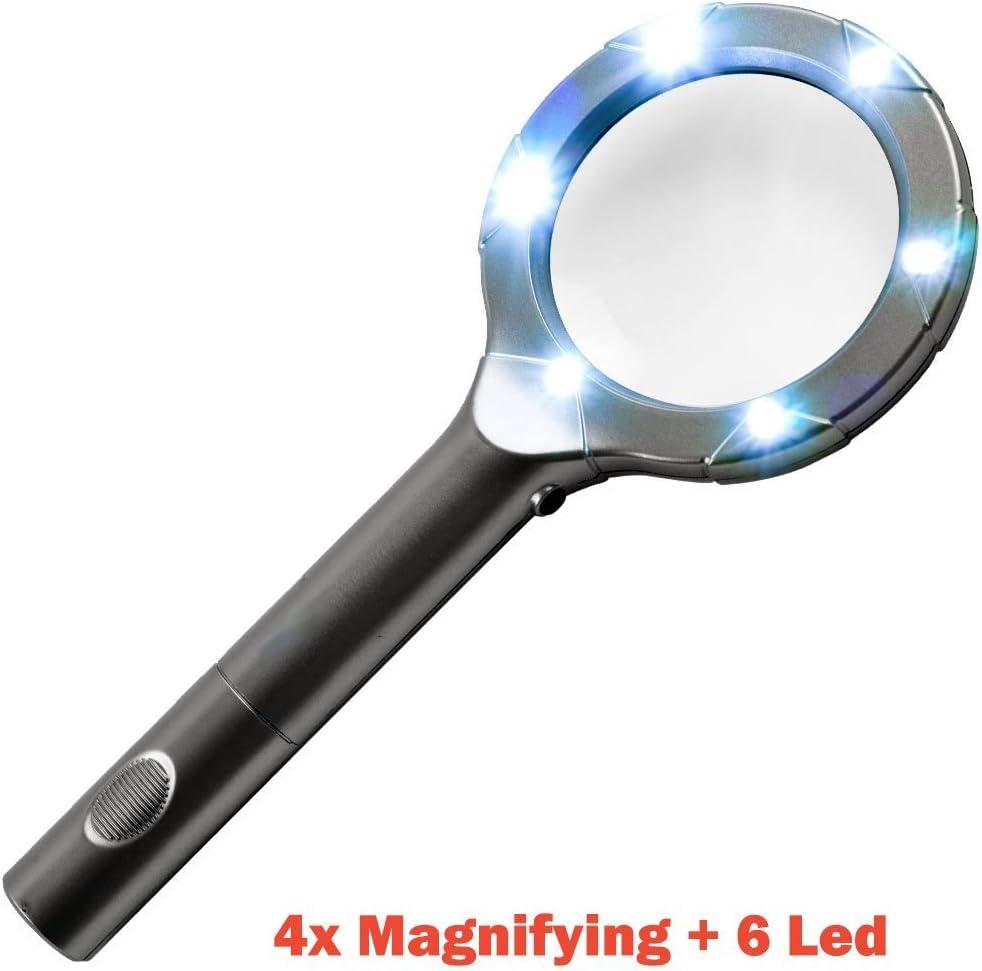 2/batterie AA incluso/ /nero 1 pezzo Black Imbaprice Superbright 6/LED con lente d ingrandimento 4/x