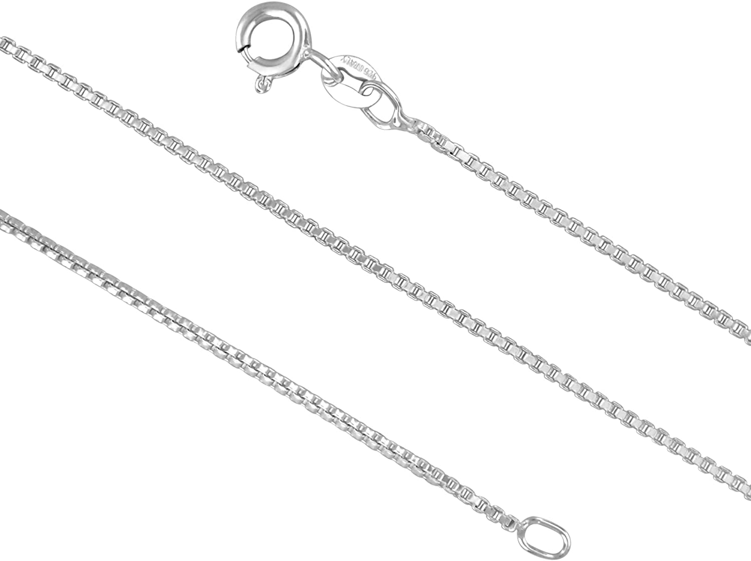Sterling Silver 1.3mm Diamond-Cut Rope Chain Necklace Solid Italian Nickel-Free 14-36 Inch