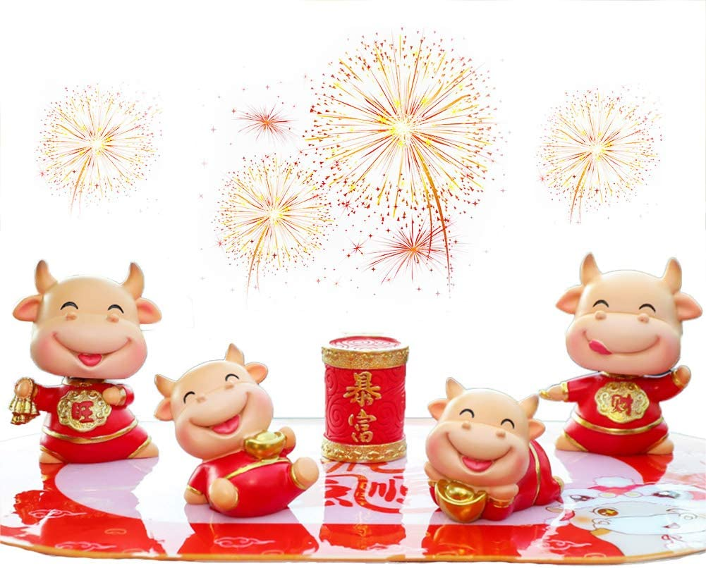 UPANV 2021 Feng Shui Chinese Zodiac OX Year Golden Resin Collectible Figurines Decoration Car Interior Mini Ox Doll Decoration Ornaments Pack of 5,A
