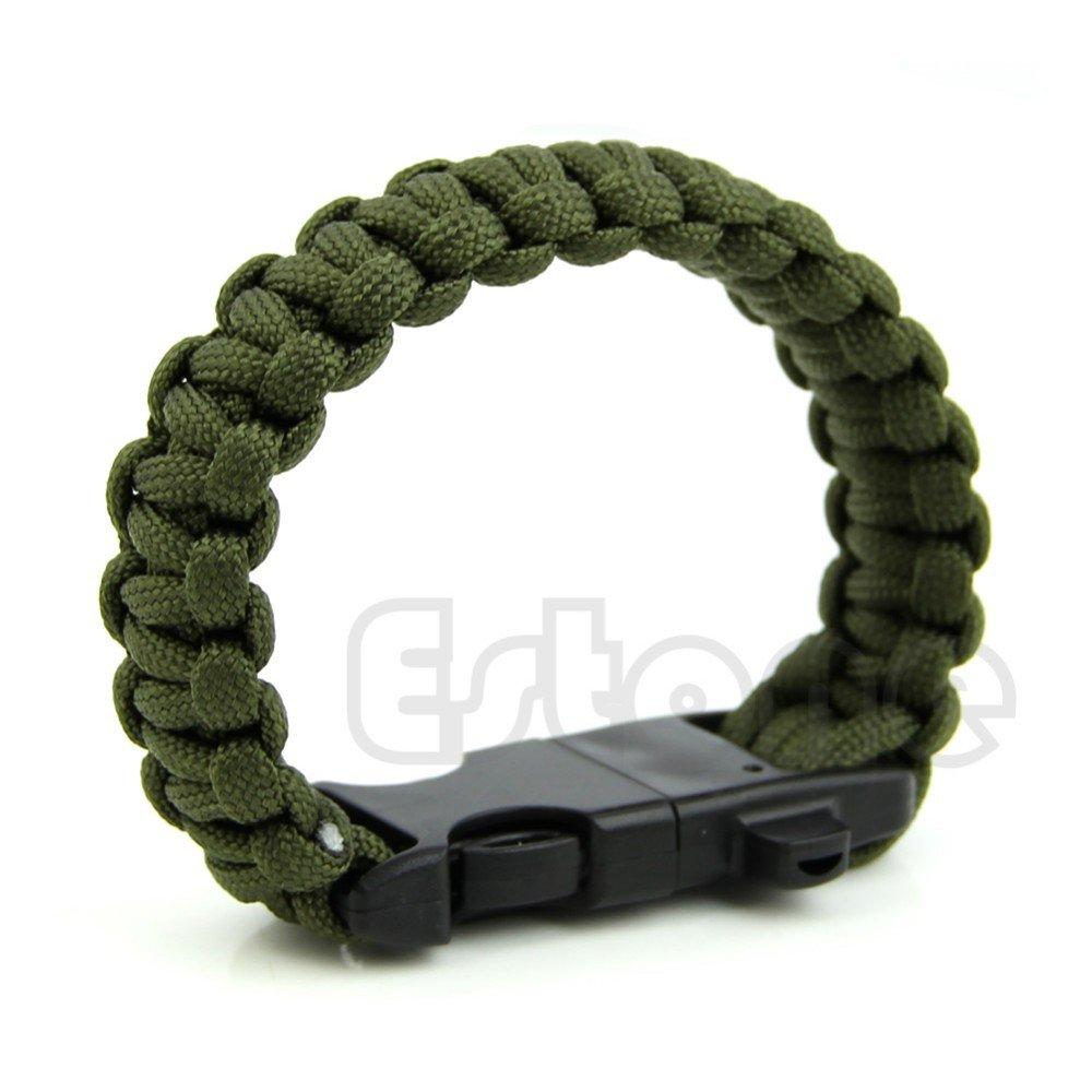 Paracord Outdoor Survival Bracelet Whistle Gear Kits Flint Fire Starter Scraper