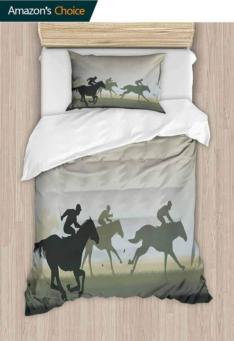 Horse Custom Made Duvet Cover and Pillowcase Set, Sport Theme with Silhouette of a Horse Racing and Riders Illustration Print, 3D Print 100% Polyester Fiber Quilt Cover & Pillowcases Beige and Black