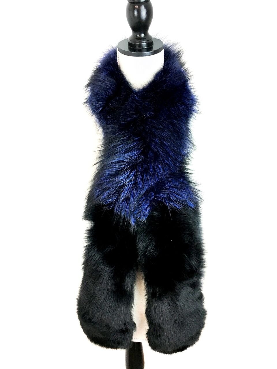 Surell Dyed Fox Fur Scarf - Womens Luxury Neck Wrap - Perfect Winter Fashion Gift (Blue) by surell (Image #2)