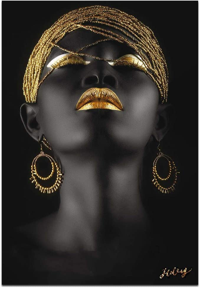Wall Art African American Art Wall Decor Canvas Wall Art Original Designed Pop Gold Earrings Necklace Black Pretty Girl Style Painting on Canvas Poster Print Without Frame 28x40 inch affiche