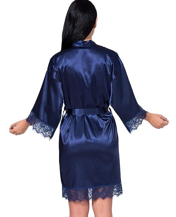 DELEY Mujeres Albornoz Kimono Satén Seda Ropa de Dormir Bata Elegantes Camisón Robe Dama de Honor Pijama: Amazon.es: Ropa y accesorios