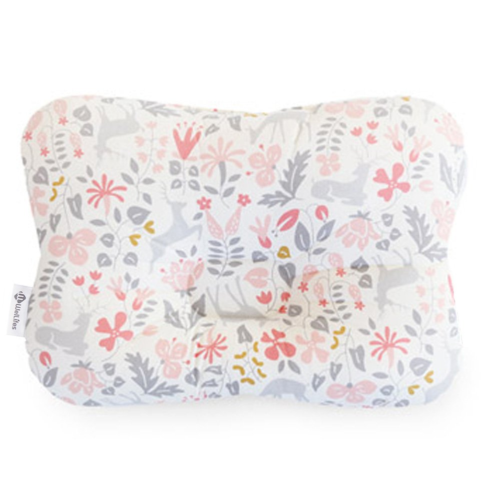 Baby Pillow For Newborn Breathable 3-Dimensional Cool Air Mesh Organic Cotton Protection for Flat Head Syndrome Bambi Pink