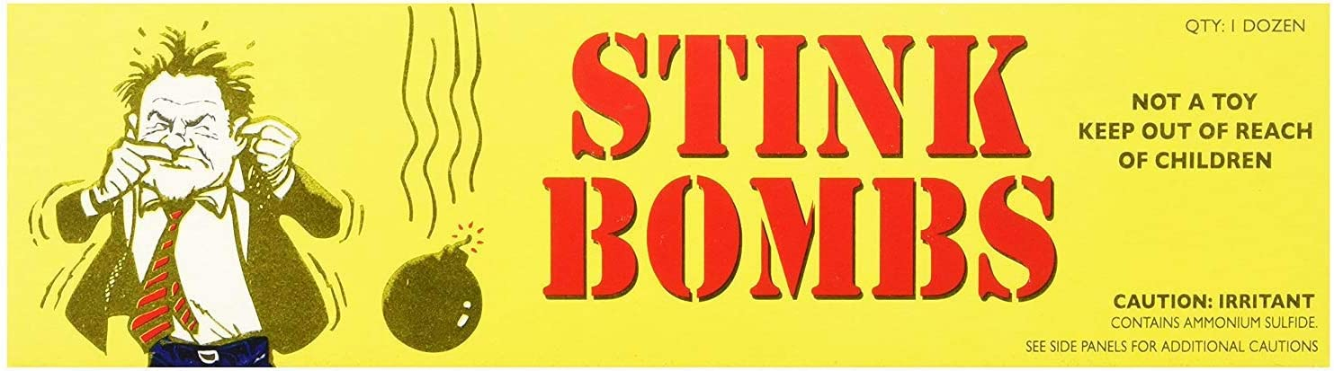 Rhode Island Novelty Stink Bombs | 3 Glass Vials Per Box | 12 Boxes Per Order