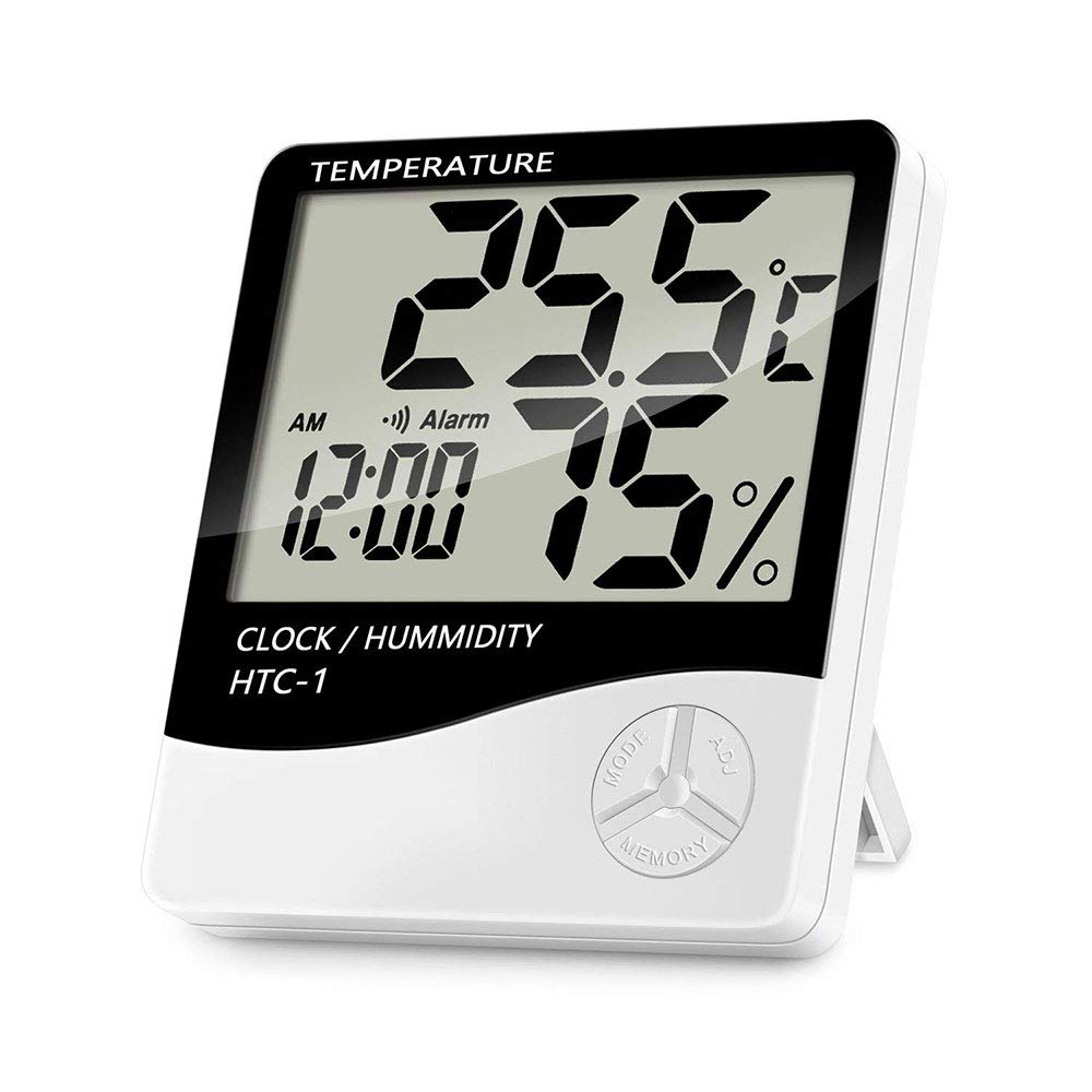Qianming Indoor Digital Temperature Humidity Monitor, Accurate Hygrometer Room Thermometer Gauge with Alarm Clock - Easy to Read, LCD Display for Home Office Comfort
