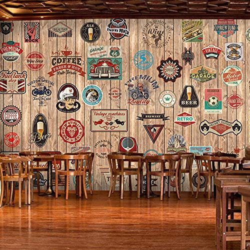 Nostalgic Vintage Slate Icon Wallpaper Personality Cafe Restaurant Wallpaper-250175Cm ()