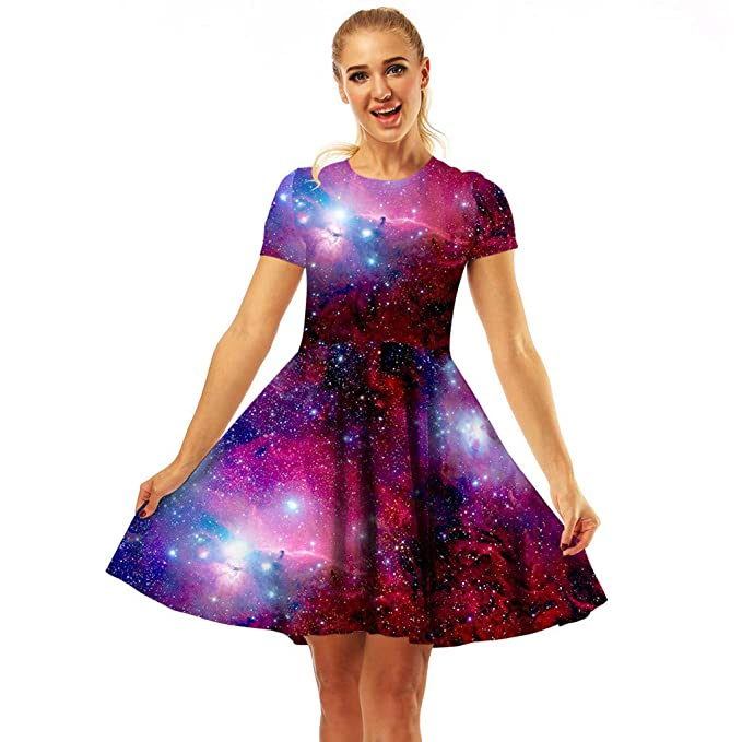shop for genuine new images of offer Pleated Dress for Women 3D Digital Printing Creative Galaxy ...