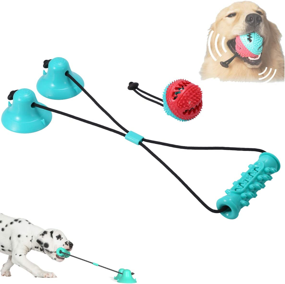 2pcs Dog Chew Toys and Dogs Ball Training Treats Teething Rope Toys with Suction Cup for Boredom Dog Puzzle Treat Food Dispensing Ball Toy Suitable for Small Large Dogs