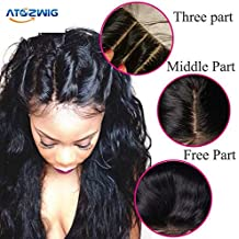 ATOZWIG@Bleached knots Body Wave Lace Closure 3Part Closure Brazilian Virgin Human Hair Swiss Lace Top Closure