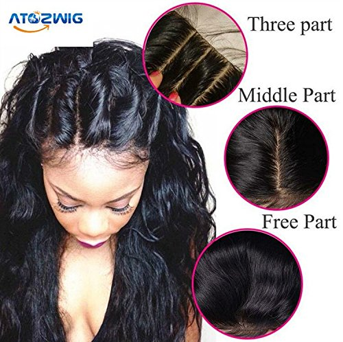 ATOZWIG @Bleached knots Body Wave Lace Closure 3Part Closure Brazilian Virgin Human Hair Swiss Lace Top Closure