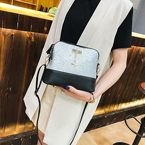 Women Shoulder Crossbody Bag, TOOPOOT Lady Elegant Sequins Shoulder Tote Messenger Zip Pocket Square Bag (Silver) by TOOPOOT (Image #2)