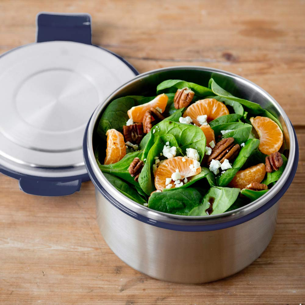 LunchBots Salad Bowl Lunch Container - 6 Cup - Leak Proof Lid - Stainless Steel Inside - Not Insulated - BPA Free, Dishwasher Safe - Navy - 6 cup by LunchBots (Image #7)