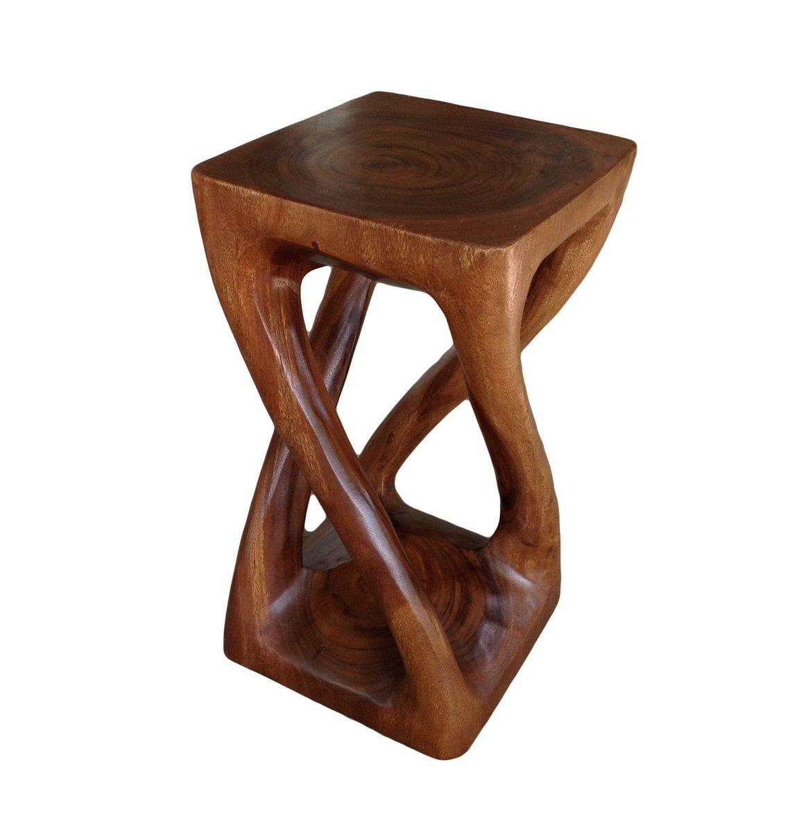 asiatique Oriental Vigne Twist 50 -8 cm Wood Tabouret ~ carré Top Table d'appoint ~ Table d'appoint par Collumino