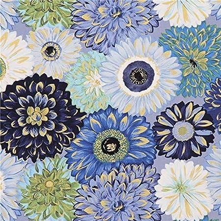 Fiori Blu E Bianchi.Tessuto Fiori Blu Verdi Bianchi Decorazioni Dorate Michael Miller
