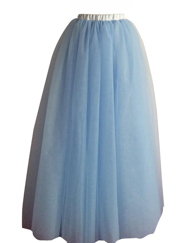Flowerry Women Tulle Wedding Party Full Length Skirt Girl Prom Skirt Summer Skirt